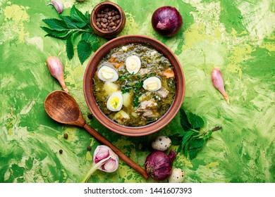 Ukrainian green borsch.Borsch with sorrel and nettles.Ukrainian cuisine.
