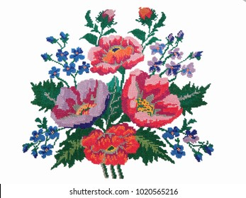 Ukrainian hand embroidery, embroidered flowers on a white background