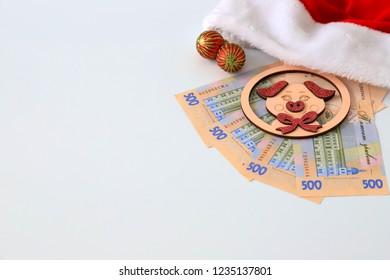 Ukrainian hryvna, 500 hryvnia, toy pig, the symbol  2019, red Santa Claus hat on white background, isolate. Christmas,  New Year concept. Ukraine. gryvna, gryvnia, hrivnia, hrivnia, grivnia, grivna