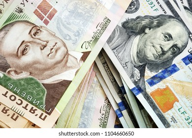 Ukrainian hryvna and American dollars. Currency exchange.