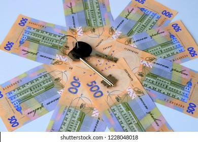 Ukrainian hryvna, banknotes 500 hryvnia, with 2 keys on a blue background, Ukraine. gryvnia, gryvna, grivna, grivnia, hrivnia,hrivna
