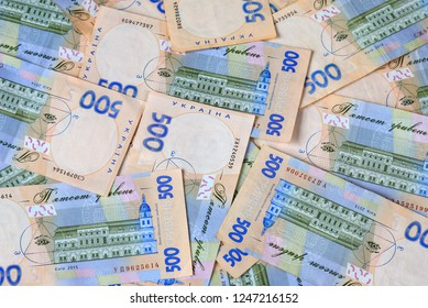 Ukrainian hryvna, banknotes 500 hryvnia,  money background, concept of  gifts and shopping . Ukraine. gryvna, gryvnia, hrivnia, hrivnia, grivnia, grivna