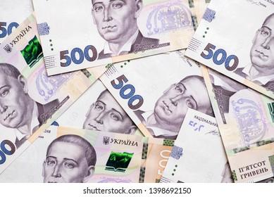 Ukrainian hryvna, banknotes 500 hryvnia. Financial background by 500 hryvnia bills. Money background.