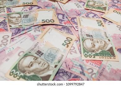Ukrainian hryvnia. Banknotes, background