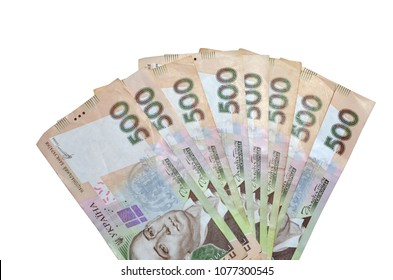 Ukrainian hryvnia currency. Fan of five hundred hryvnia isolated on white background. Free space for text. Money concept