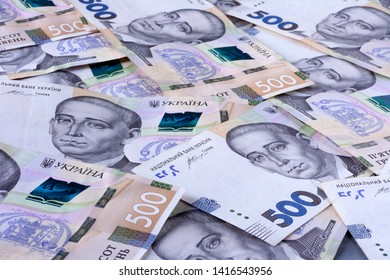 Ukrainian hryvnia, new banknotes of 500 hryvnia. Financial background for 500 hryvnia. Money background