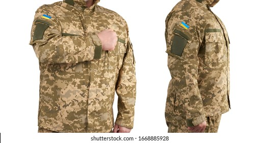 Ukrainian man warrior dressed in a military pixel uniform stands on a white background, soldier put a hand to his chest as a sign of respect, honor of the state symbol
