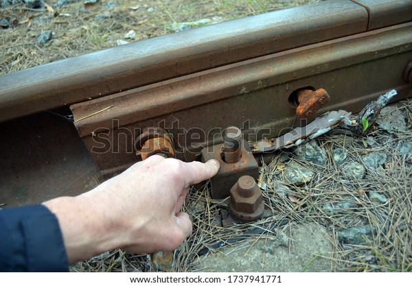 Ukrainian metal thieves destroy the infrastructure of the railway. Rail fasteners are loose or missing. The railway line provides an important urban infrastructure. May 22, 2020 Kiev ,Ukraine