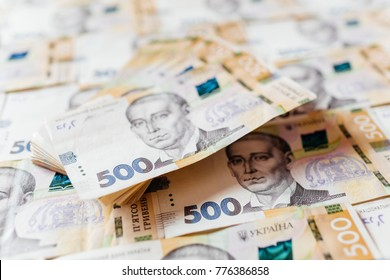 Ukrainian money. Background of the five hundred hryvnia banknotes