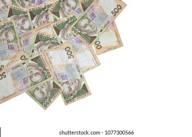 Ukrainian money background - pile of five hundred banknotes. Hryvnia (UAH) Flat lay, top view. Copy space