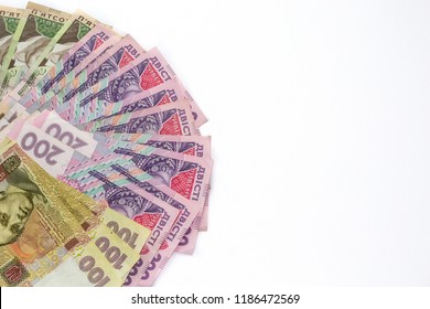 Ukrainian money hryvnia isolated on white background. Inflation, business. econimics and finance theme. Problem of rise of prises of gas and electricity  in Ukraine.
