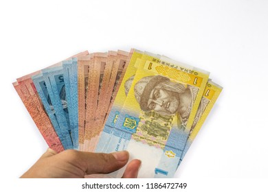 Ukrainian money hryvnia isolated on white background. Inflation, business. econimics and finance theme.
