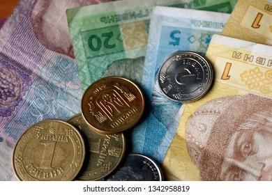 Ukrainian money, hryvnias and kopeks, close-up, 20,50,5,1 hryvnia