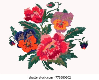 Ukrainian national embroidery, embroidered flowers are isolated on white background
