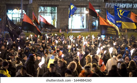 Ukrainian nationalists torchlight procession (torch march) in honor of the 111th anniversary of the birth of Stepan Bandera. January 1, 2020 Kyiv, Ukraine