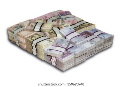 Ukrainian packs a lot of money the stacked