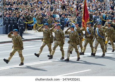 Ukrainian paratroopers marching on a square during military parade dedicated to Day of Independence of Ukraine. August 24, 2018. Kiev, Ukraine