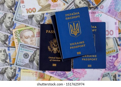 Ukrainian passport with dual citizens US Passport hryvnia banknotes and US dollar bills