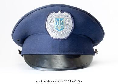 ukrainian police cap isolated on white background