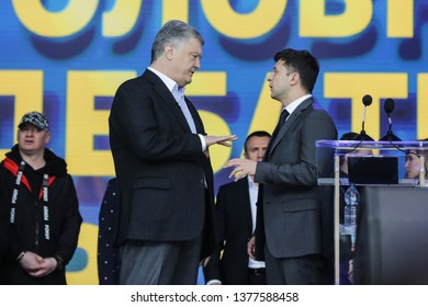 Ukrainian President Petro Poroshenko attends a policy debate with his rival comedian Volodymyr Zelenskiy at National Sports Complex Olimpiyskiy stadium in Kiev, Ukraine. April 19, 2019.
