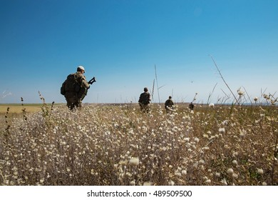 Ukrainian soldiers during a patrol area in the Donbas