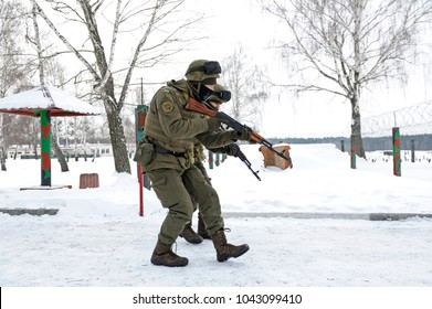 Ukrainian soldiers took position guarding roadblock. National guard of Ukraine exercises, press-tour for mass-media. February 1, 2018. Military range in Novo-Petrivtsi, Ukraine