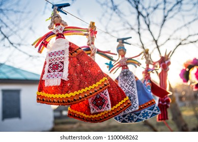 Ukrainian traditional doll amulet in national bright costume, sold at the fair