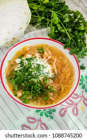 Ukrainian traditional soup with cabbage and meat (kapusnyak)