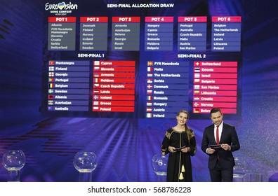 Ukrainian TV hosts Timur Miroshnychenko and Nika Konstantinova present the semi-final allocation draw of the Eurovision Song Contest 2017 (ESC) in Kiev,Ukraine,31 January 2017