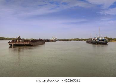 """Ukrainian Venice"" on Danube's delta, Vilkove, Odessa region, Ukraine. Spring navigation. Ships on road. April 26, 2012"