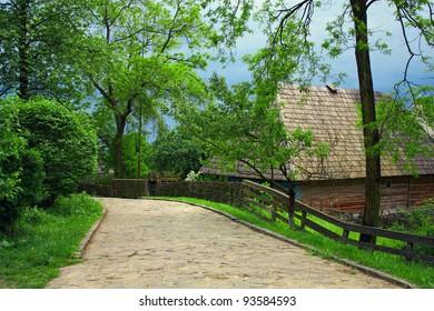 ukrainian village old street on highland at spring
