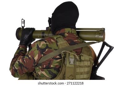 Ukrainian volunteer with grenade launcher RPG isolated on white