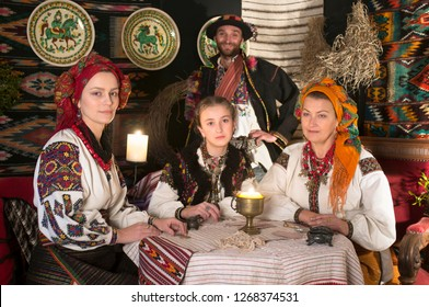 Ukrainians Hutsuls in the Carpathians in traditional ancient  costumes ornaments, which for more than a hundred years show the life and culture of our ancestors of the Slavs of Ukraine