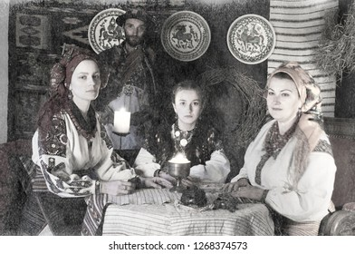 Ukrainians Hutsuls in the Carpathians in traditional ancient  costumes ornaments, which for more than a hundred years show the life and culture of our ancestors of the Slavs of Ukraine. old photo