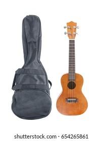 Ukulele with ukulele bag isolated on white
