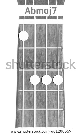 Ukulele Chord Abmaj 7 On White Background Stock Photo Edit Now