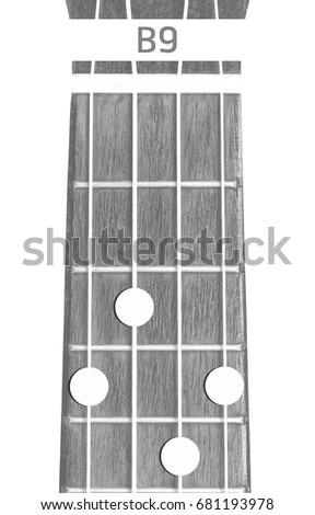 Ukulele Chord B 9 On White Background Stock Photo Edit Now
