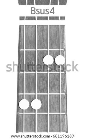 Ukulele Chord Bsus 4 On White Background Stock Photo Edit Now