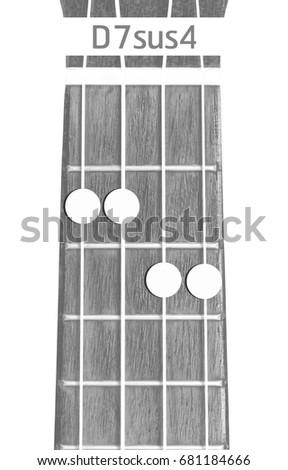 Ukulele Chord D 7 Sus 4 On White Background Stock Photo (Edit Now ...