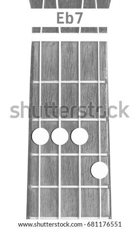 Ukulele Chord Eb 7 On White Background Stock Photo Royalty Free