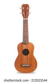 Ukulele guitar isolated on white background.
