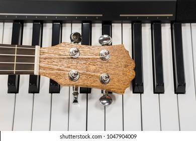 Ukulele guitar and piano keyboard