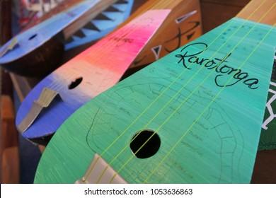 Ukulele guitars in Rarotonga Cook Islands.The ukulele originated in the 19th century as a Hawaiian adaptation of the Portuguese machete.