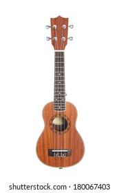 Ukulele Hawaiian guitar, studio shot isolated on white background