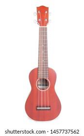Ukulele Mahogany on a white background, Brown ukulele made from mahogany.