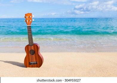 Ukulele on the beautiful beach in Hawaii