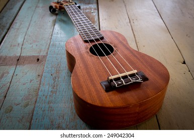 ukulele on the old wood table