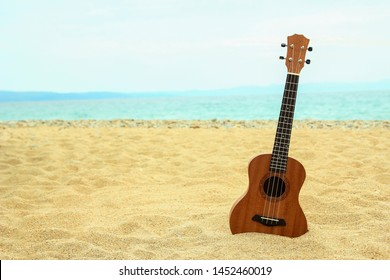 ukulele on the sand by the sea in summer