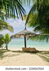 Ukulhas beach, beautiful view on sea with palms