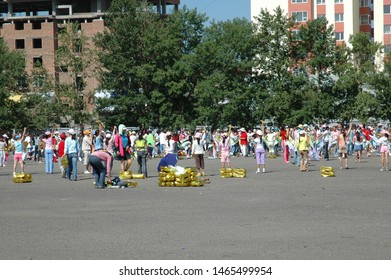 ULAAN BAATAR, MONGOLIA - July 2, 2006: People practicing for Naadam, a traditional festival in Mongolia. The games are Mongolian wrestling, horse racing, and archery.